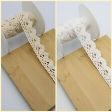 5M Cotton Lace SCALLOPED Crochet White Or Cream Vintage Like Sewing Trim 15mm