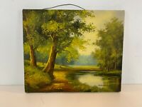 Vintage Landscape Forest River Scene Oil Painting on Canvas Signed Wallace