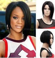 Sexy Women  Black Fashion  Short Straight BOB Hair Full Wig Cosplay Party