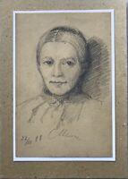 August Schiott 1823-1895 Dibujo Retrato Uno Mujer Retrato de a Mujer