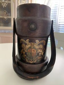Antique French  leather fire bucket  coat of arms Original B.H.&G.L to 8-1940