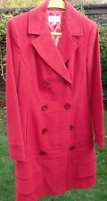 MARKS & SPENCER M & S PER UNA LUXURY SMART KNEE LENGTH RED COAT FANTAIL BACK 10