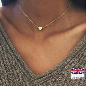 Heart 14k Gold Plated Necklace Thin Chain Choker - Small Simple Jewellery - UK