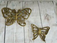 Vintage Homco Butterfly Wall Plaques Set of 2 Butterflies Gold syroco
