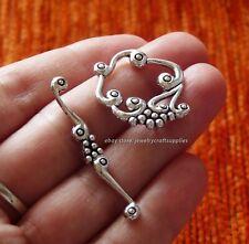 4 Sets Flower Bracelet Toggle Clasps Bar Ring Closures Necklace Connector Silver