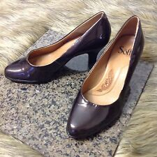 Sofft Sz 7 W Dark Metallic Brown Almost Black Patent Leather Classic Pumps Heels