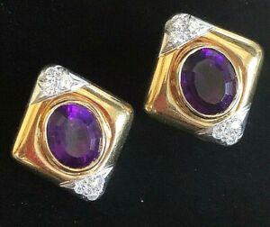 Rare 18k Platinum Herbert Rosenthal Siberian Amethyst Diamond Earrings 20g