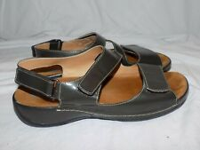 Wolky Liana Patent Pewter Gray Leather Sandals Euro 38 US 7.5