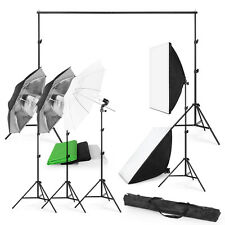 2017 Photo Studio Photography Kit 4 Light Bulb Umbrella Muslin 3Backdrop Stand T