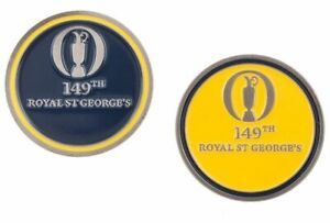 2021 OFFICIAL (Royal St Georges) British Open Two Sided (Nvy/Yellow) BALL MARKER