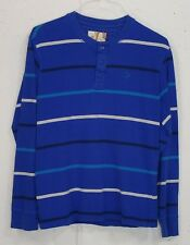 OP Ocean Pacific Mens Blue Striped 100% Cotton Long Sleeve Henley Shirt Small S