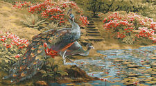 """50"""" WALL JACQUARD WOVEN TAPESTRY Paradise Place PEACOCK PICTURE - FLORAL GARDEN"""