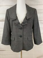Ann Taylor LOFT Suit Jacket Blazer Gray Magenta Waterfall Collar Size 6 $70 NEW