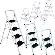 FOLDABLE 2, 3 & 4 STEP STEEL LADDER NON SLIP TREAD STEPLADDER SAFETY KITCHEN