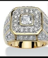 Luxury Men's 18K Gold Plated White Topaz Ring Evening Party Jewelry Size 7-13