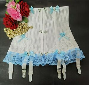 Vintage Sissy Frilly Lace Suspender Girdle 6 Metal Garters White-Blue Size 20