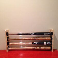 4 BASEBALL BAT DISPLAY HOLDER RACK WALL MOUNT HOLDS 4 BASEBALL BATS - MLB