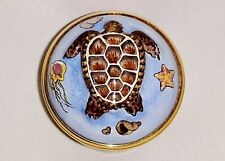 """Halcyon Days Enamels, Bas Relief Trinket Box, """"Turtle With Shells And Coral"""""""
