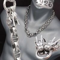 "22"" 238g DRAGON HEAVY CURB 925 STERLING SILVER MENS BIKER NECKLACE CHAIN pre"