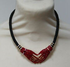 Butler and Wilson Red Crystal Double Hands Leather Cord Magnetic Necklace NEW