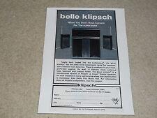 Klipsch Belle Klipsch Speaker Ad, 1973, 1 page, Frame it! One of Paul's Best
