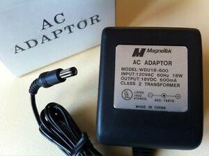 ONE MAGNETEK AC ADAPTER MODEL WDU18-600 OUTPUT 18VDC 600mA TRANSFORMER 18V DC.