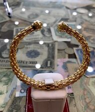 18k Yellow Gold  Lady's Bangle Italy Two Tone