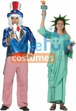 Couples Costumes Uncle Sam & Statue Of Liberty Adult Halloween Fancy Dress