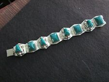 Vintage Mexican (MAP) Sterling Bracelet Abstract Carved Green Onx Stones c1930