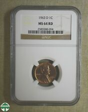 1963-D LINCOLN MEMORIAL CENT - NGC CERTIFIED - MS 64 RD
