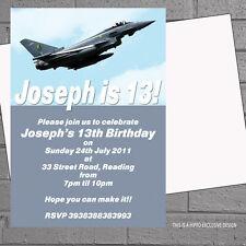 Avión de combate para Hombres Chicos Fiesta Cumpleaños Invitaciones X 12 + Envs H1051