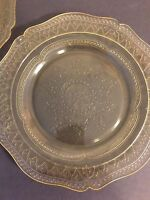 Depression Glass Patrician Pattern Yellow Plates Set of 2 Federal Glass Vintage
