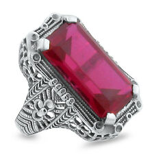 10 Ct LAB RUBY ANTIQUE ART DECO STYLE .925 STERLING SILVER RING SIZE 5,  #145
