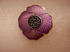 Purple poppy pin badge. Large flower. Lest we forget. Animal Animals. Metal.