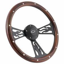 "14"" Real Wood & Black Flamed Steering Wheel Chevrolet Truck Any 1948 - 2002"