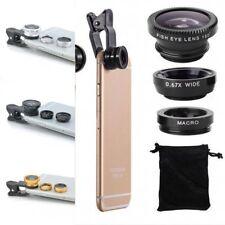 Fisheye Wide Angle & Macro Photo black Clip Lens Mobile Phone Camera Set Kit UK