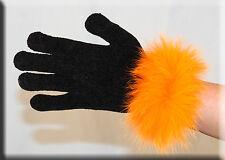 New Black Chenille Gloves Orange Fox Fur Trim - Efurs4less