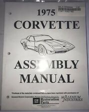 1975 CORVETTE C3 ASSEMBLY MANUAL 100'S OF PAGES OF DETAILS & ILLUSTRATIONS L0102