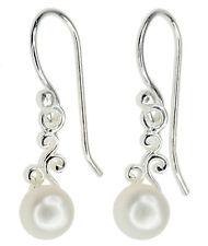 Pearl White Natural Gemstone 6mm Dainty Dangle Sterling Silver Earrings
