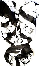 NEW! Women's Scarf / Wraps Call Me Text Me Print Black and White RARE!