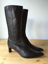 Box2 Ladies Black Leather Mid Calf Boots uk7 eu40
