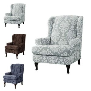 New Floral Wingback Chair Covers Soft Cushion Slipcovers Comfy Protector Set