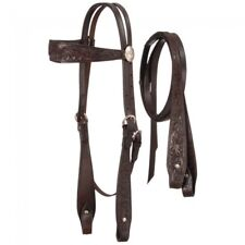 Fully Carved Brow Headstall with Reins - Dark Oil - 18-2535-32-0 -