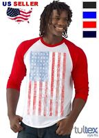 American Flag vintage 3/4 sleeve Baseball Raglan T-shirt American Patriotism tee