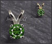 Brillant Anhänger aus 585 Gold, Diamant Grün mit 0,20ct, Weißgold/Gelbgold