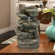 """11"""" 5-Tiered Feng Shui Rocky Water Falls Tabletop Water Fountain with LED Lights"""