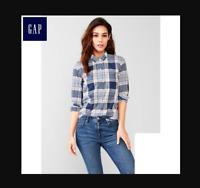 NWT Gap Fitted Boyfriend Plaid Shirt, Blue Plaid SIZE M              #226817 E57