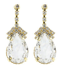 CLIP ON EARRINGS - gold drop with a clear oval stone and crystals - Meg