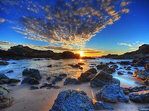 Ocean Sunrise Sunset Australia  photo Framed Poster Canvas  Print Beach