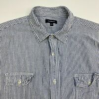 Croft & Barrow Button Up Shirt Mens XL Blue White Stripe Short Sleeve Casual